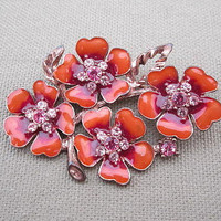 Salmon Orange Rhinestone Flower Brooch 1928 Jewelry Company