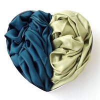2 Scarves Pastel Green and Peacock Pashmina - For Him & For Her-Valentine Fashion-Circle Scarf