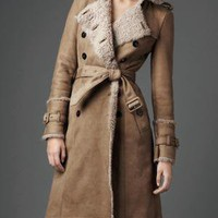 Burberry - DOUBLE BREASTED SHEARLING TRENCH COAT