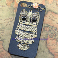 Cute Owl iphone case,owl on the branch ,resin flower case for iPhone 4 Case, iPhone 4s Case, iPhone 4 Hard Case