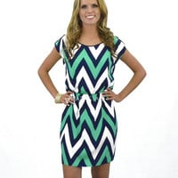 Joplin Park Green Chevron Dress