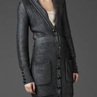 Burberry LONG WOVEN SILK AND WOOL CARDIGAN - Knitwear