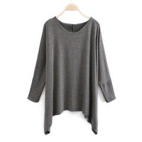 Hi,Showme — Irregular Hem Bat-Wing Sleeve Loose T-Shirt