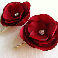 Red Wine Satin Organza Flower Bobby Pins with Crystal Rhinestone