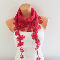 ON SALE Cotton scarf Summer scarf Fuchsia Cotton Scarf with Lace