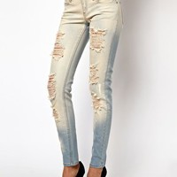 Mango Bleach Wash Distressed Skinny Jean at asos.com