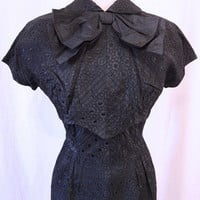 Vintage 50s Black Pin Tuck & Flowers Satin Hourglass Dress & Bow Top Crop Jacket