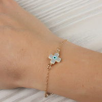 "Evil eye bracelet, evil eye cross bracelet, gold sideways cross bracelet, christening bracelet, good luck bracelet, gold bracelet, ""Harpina"""