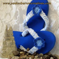 crochet blue flower flip flops for summer on Handmade Artists&#x27; Shop