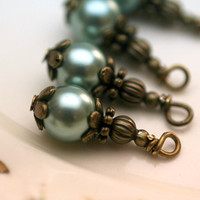 Vintage Style Bead Dangle Charm Drop Set in Robins Egg Blue Pearl and Antique Brass