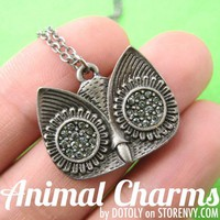Simple Owl Bird Animal Charm Necklace in Silver with Rhinestones