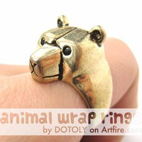 3D Adjustable Polar Bear Teddy Animal Wrap Around Ring in Shiny Gold