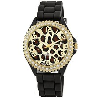 "Golden Classic Women's 2220_leopardblack ""Glam Jelly"" Oversized Rhinestone Leopard Silicone Watch"