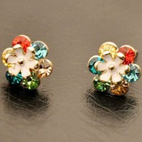Sparkly Colorful Flower Rhinestone Earrings  from LilyFair Jewelry
