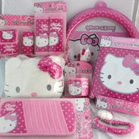 Hello Kitty Car 11 Pcs Set ; Car Mirror Cover / 2 Seat Belt Cover / Wheel Cover / Brake / Shift Cover / Multi Holder / 2 Seat Cover / Head Rest Cover / Cd Visor - Polka Dot:Amazon:Everything Else