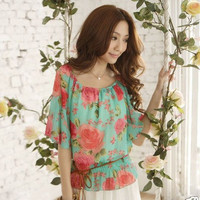 New Hot Japan Woman Elegant Floral Print Chiffon Short Sleeve Blouse Top Shirt