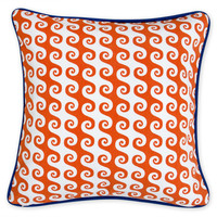 Jonathan Adler orange aegean waves outdoor pillow