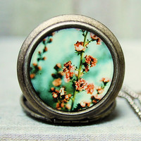 Photo Locket - Possibly Maybe - Floral Nature Garden Photo Locket Necklace