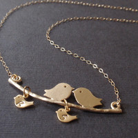 Personalized Initial Two bird and Two Baby bird 14k Gold filled necklace. Familly necklace, Love necklace
