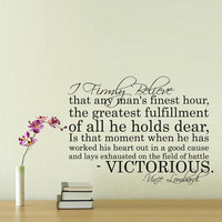 Vinyl Wall Decal Sticker Art - Vince Lombardi  quote -  wall Mural