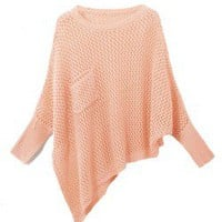 Asymmetric Handknit Sweater In Open Stitch