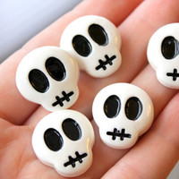 Decoden Dawn Of The Skull Skeleton Head Resin Cabochons 6 pcs 22 mm