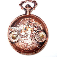 Steampunk Biker Pocket Watch by CalicoPalaceShop on Etsy