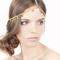 Gold Head Bands - Gold coin Grecian style Greek | UsTrendy