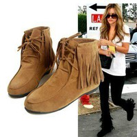 Moccasin Tassel Fringe Ankle Boots