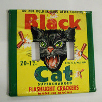 black cat switch plate retro vintage firecracker rockabilly 1950&#x27;s kitsch