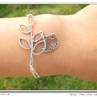Adjustable Silver branches Bird Bracelet Cuff by sevenvsxiao