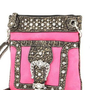 Hot Pink Western Rhinestone Buckle Crocodile Hipster Cross Body Purse:Amazon:Clothing
