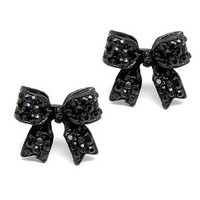 Fashion Crystal Pave Bow Ribbon Stud Earrings Black:Amazon:Jewelry