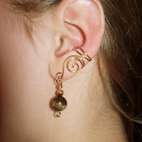 Pair of Gold tone Ear Cuffs with Genuine Tiger Eye Beads, non pierced
