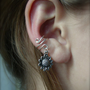 Ear Cuff, Very Trendy Silver Cuff with Pretty Sunflower Charm