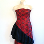 Vintage Dress-80s Black and Red Lace and Ruffle Dress/Party Dress/Bridesmaid/Evening/Holiday/Prom