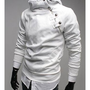 Free Shipping White Men Cotton Slim Fitting Casual Pullover Hoodie S/M/L/XL T-1607-198