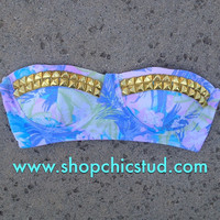 Studded Bikini Top - Swimwear - Pastel Lavender Pink Blue Palm Print - Gold, Silver, or Black Studs -
