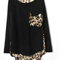 Black or Gray Leopard Print Chiffon T-shirt