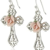 The Vatican Library Collection Rose Cross Earrings:Amazon:Jewelry