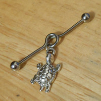 Industrial Barbell - Silver Turtle Industrial Barbell - Industrial Piercing