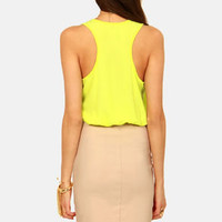 Chip Off the Color Block Highlighter Yellow and Beige Dress