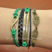 Ancient Bronze infinity bracelet ,two owls charm bracelet ,leather & cotton ropes cuff bracelet , jewelry bracelet  d-329