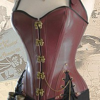 39 waist Brass Steampunk Adventurers Corset oxblood WVAMPB02A | HarlotsandAngels - Clothing on ArtFire