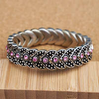 Vintage V Shape Stretch Bracelet with Pink Rhinestones