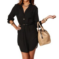Black Mock Collar Belted Tunic