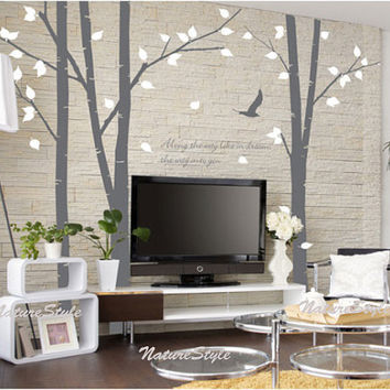 3 Birch Tree with Flying BirdsVinyl Wall by NatureStyle on Etsy