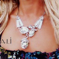 Minali ® - Bohemian Chic Jewelry / Drops Of Jupiter - Crystal  Silver Statement Necklace by Minali