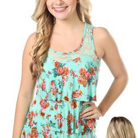floral print tiered tank top with lace - 1000044788 - debshops.com