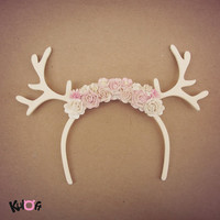 White Moose deer flowers headband